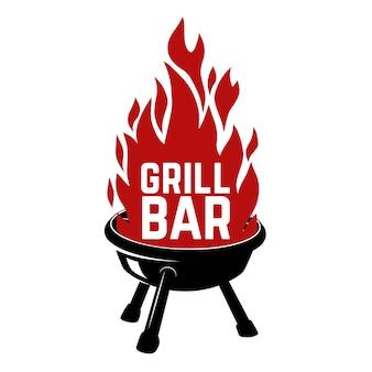 Grill bar. illustrazione del barbecue con il fuoco. elemento per logo, etichetta, emblema, segno, distintivo. immagine