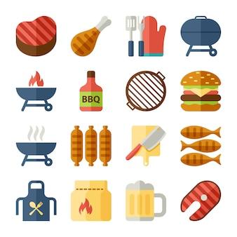 Icone piane di griglia e barbecue