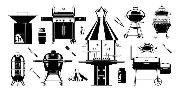 Grill barbecue sihouette set. utensili per grigliare barbecue. griglie a carbone, griglie a gas e griglie a legna