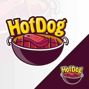 Griglia hotdog pan bbq mascot logo