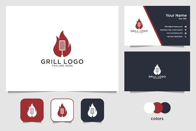 Logo della griglia con design del logo del fuoco e biglietto da visita