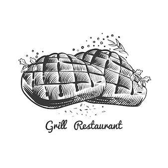 Ristorante alla griglia, illustrazione steak house con bistecche disegnate a mano e piccante