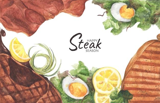 Bistecche di manzo alla griglia e insalata con uova sode, vista dall'alto con copia spazio per il testo. disposizione piatta. illustrazione dell'acquerello.