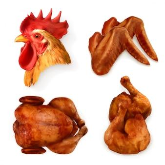Pollo alla griglia, set di icone