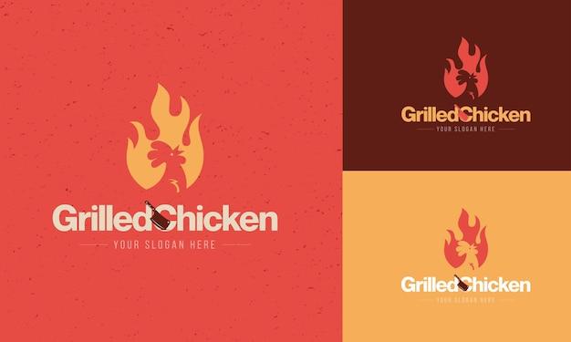 Concetto di logo del ristorante di pollo alla griglia