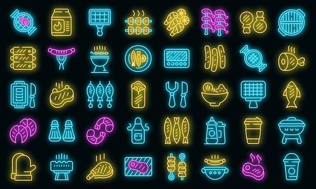 Set di icone di cibo alla griglia neon vettoriale