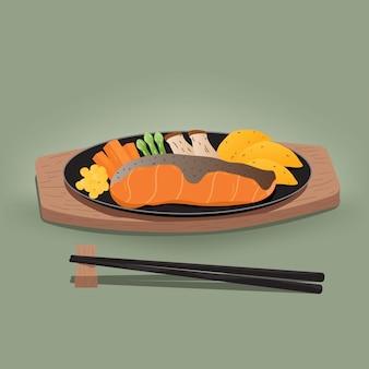 Salmone alla griglia su un piatto. illustrazione vettoriale su sfondo verde illustrazione vettoriale
