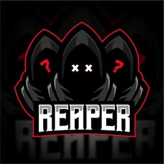 Logo di gioco della mascotte anonima del grim reaper