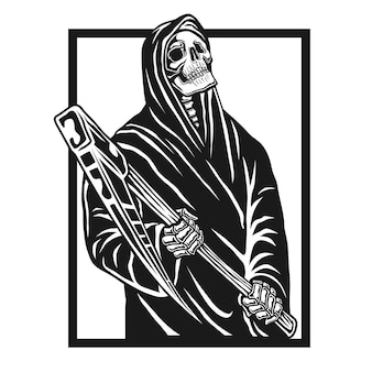 Grim reaper carattere illustrazione vettoriale.