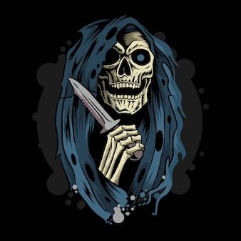 Angelo della morte di grim reaper che tiene il coltello del pugnale