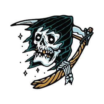 Grim reaper horror halloween tattoo illustrazione