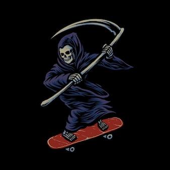 Grim reaper su skateboard illustrazione