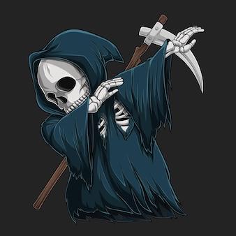 Scheletro di grim reaper che fa tamponando il movimento del personaggio di halloween di danza tamponante