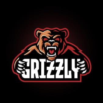 Disegno del logo esport della mascotte dell'orso grizlly