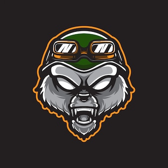 Grizzly army head logo template