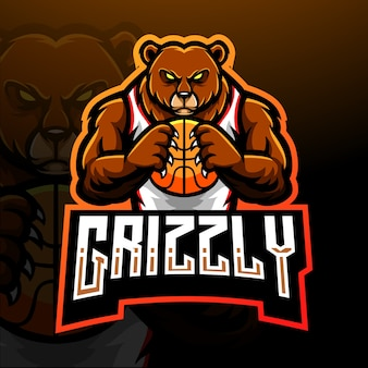 Orso grizzly esport logo mascotte design