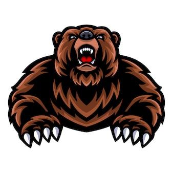 Logo mascotte orso grizzly