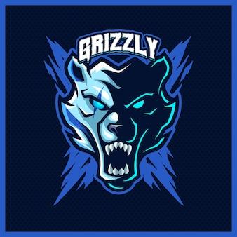 Orsi grizzly ruggito mascotte esport logo design illustrazioni modello, orso polare stile cartone animato