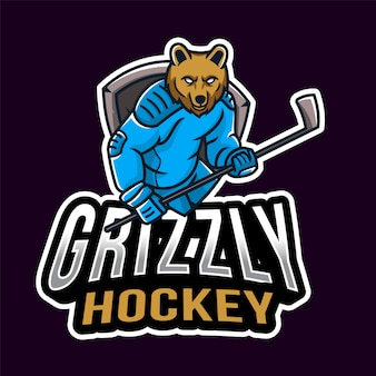 Grizzly hockey sport logo