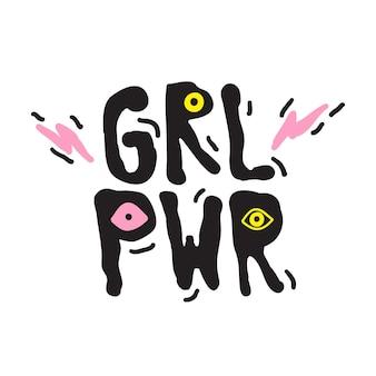 Grl pwr citazione breve. girl power semplice illustrazione carina per stampa, borsa, abbigliamento. perfetto da attaccare su laptop, telefono, muro ovunque. slogan femminista moderno, l'ultima tendenza del tatuaggio
