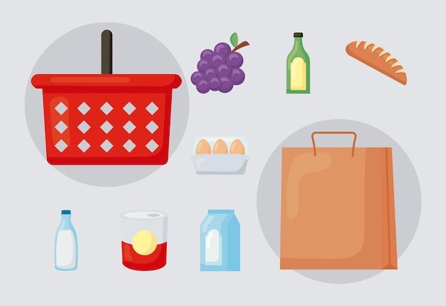 Il negozio di alimentari ha impostato nove icone