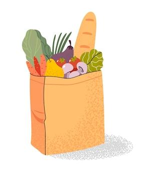 Sacchetto della spesa pieno di pane, frutta e verdura in un supermercato
