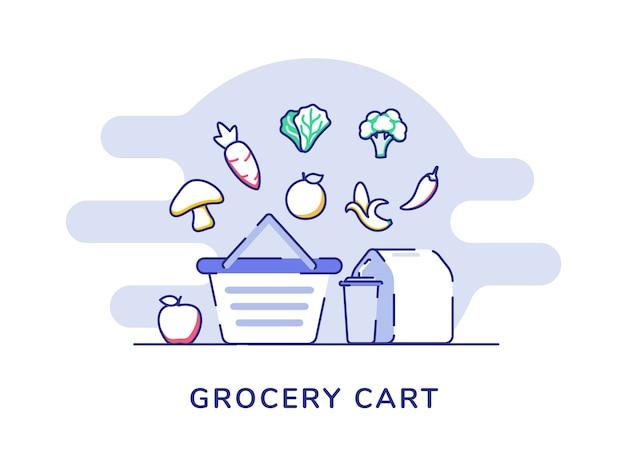Carrello della spesa concetto assortimento frutta verdura fungo carota cavolo imballaggi alimentari drink carrello negozio anteriore