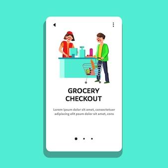 Cassiere di acquisto di generi alimentari che vende prodotti