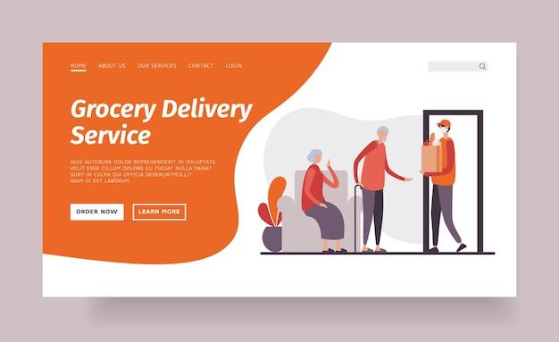 Modello di pagina di destinazione del servizio di consegna di generi alimentari