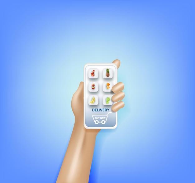 Consegna e acquisto di generi alimentari tramite il concetto di app per smartphone vettore isometrico di un cesto pieno con