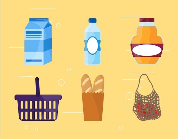 Set di icone di generi alimentari