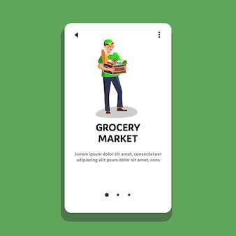 Consegna del pacchetto di prodotti del mercato alimentare