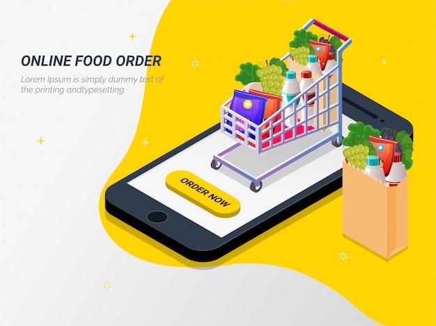 Generi alimentari online dall'app tramite smartphone.