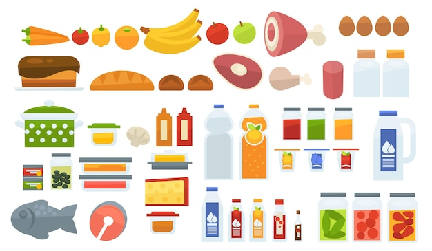 Prodotti alimentari varietà di cibi e pasti, assortimento di verdure e pasticceria, carne e bevande dolci. ingredienti succo e banana, croissant e pesce salmone, carne di manzo e maiale. vettore in stile piatto