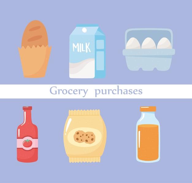 La drogheria acquista pane, uova, succo di frutta, biscotti, pomodoro e salsa