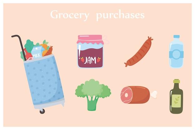 Il carrello della spesa con il cibo include marmellata, broccoli, acqua e altro ancora