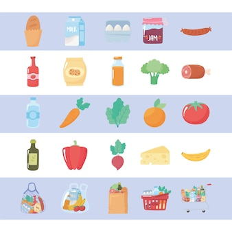 Acquisti di generi alimentari, frutta e verdura biologica e prodotti dal mercato