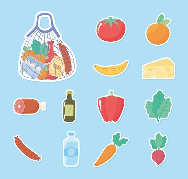 Acquisti di generi alimentari icone adesivi pomodoro arancia pepe carota