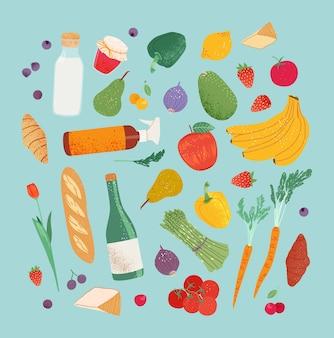 Gli acquisti di generi alimentari impostano frutta e verdura dalla fattoria del mercato del negozio locale stampa di un'alimentazione sana