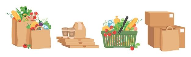 Gli acquisti di generi alimentari hanno messo i sacchetti di carta con le scatole di cartone degli alimenti a rapida preparazione del cestino dei prodotti