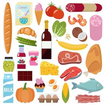 Insieme di generi alimentari. piatto
