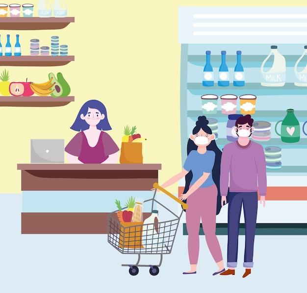 Coppia di negozio di alimentari