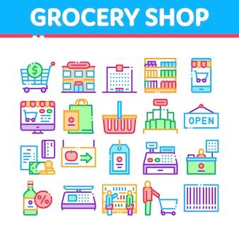 Icone della raccolta di acquisto del negozio di alimentari messe