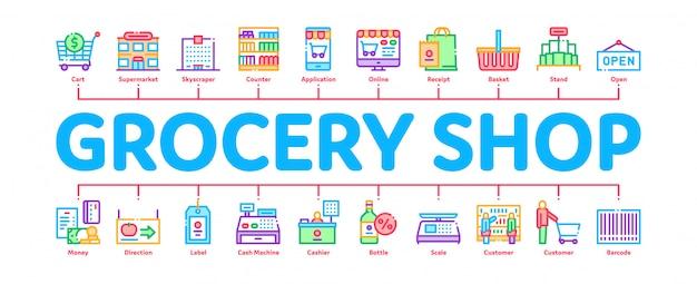 Insegna minima di infographic di compera del negozio di alimentari