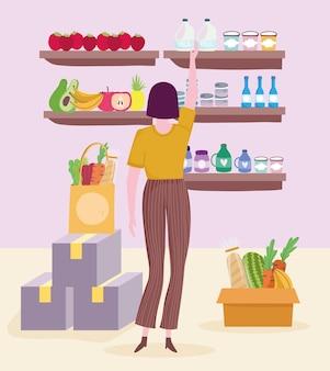 Donna del negozio di alimentari
