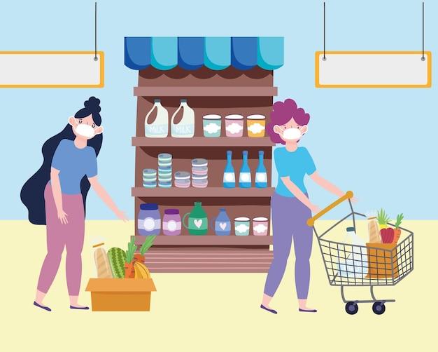 Donne del negozio di alimentari
