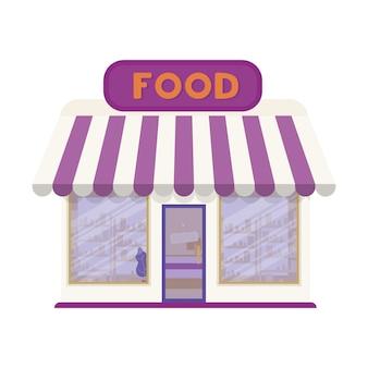 Negozio di alimentari isolato su uno sfondo bianco.