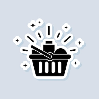 Adesivo di negozi di alimentari. cestino della spesa. shopping e concetto di e-commerce. vettore su sfondo isolato. env 10.