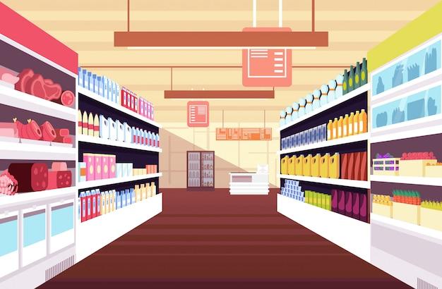 Interno del supermercato con scaffali di prodotto completo.