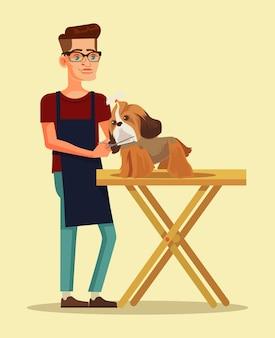 Il carattere del toelettatore pettina il carattere del cane